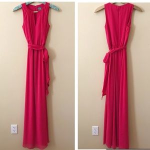 Vince Camuto Long Pink Maxi Dress Belted